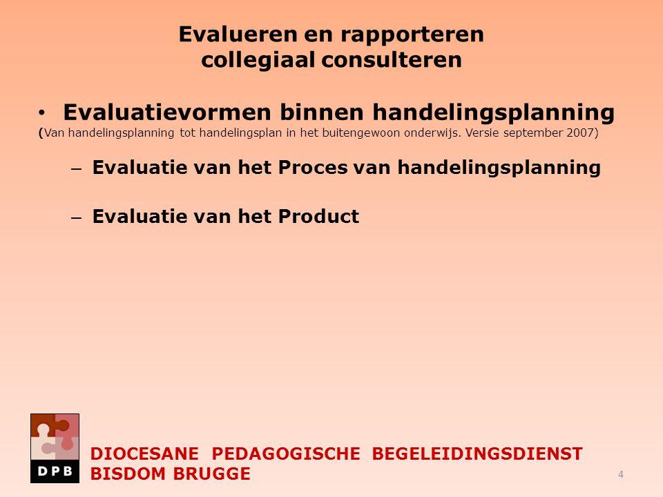 Evalueren en rapporteren collegiaal consulteren Evaluatievormen binnen handelingsplanning (Van handelingsplanning tot handelingsplan in het buitengewo