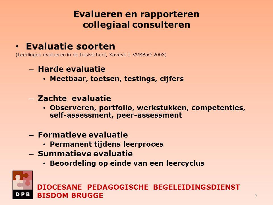 Evalueren en rapporteren collegiaal consulteren Evaluatie soorten (Leerlingen evalueren in de basisschool, Saveyn J. VVKBaO 2008) – Harde evaluatie Me