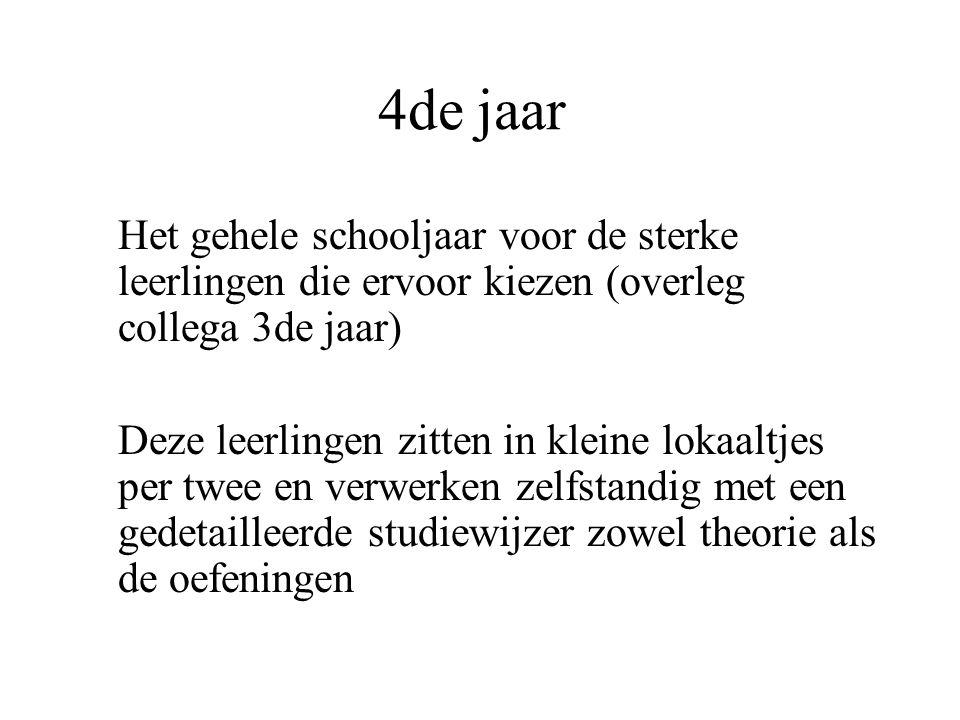 4de jaar Het gehele schooljaar voor de sterke leerlingen die ervoor kiezen (overleg collega 3de jaar) Deze leerlingen zitten in kleine lokaaltjes per