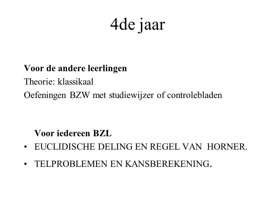 4de jaar Voor de andere leerlingen Theorie: klassikaal Oefeningen BZW met studiewijzer of controlebladen Voor iedereen BZL EUCLIDISCHE DELING EN REGEL VAN HORNER.