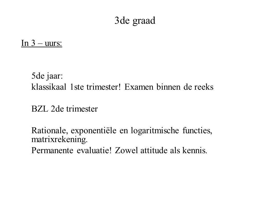 3de graad In 3 – uurs: 5de jaar: klassikaal 1ste trimester! Examen binnen de reeks BZL 2de trimester Rationale, exponentiële en logaritmische functies