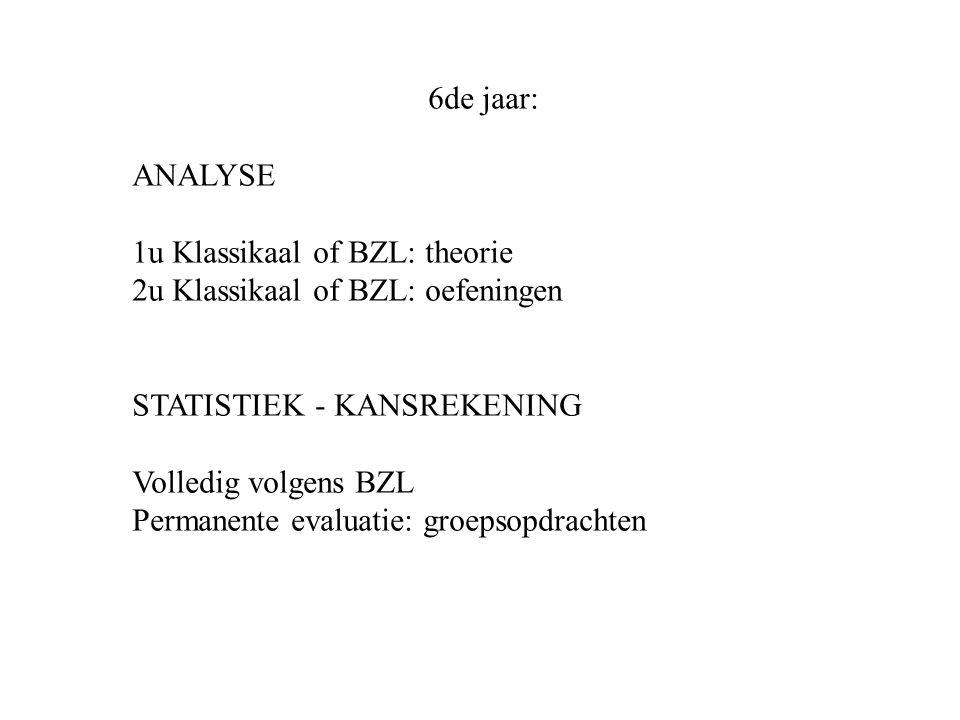 6de jaar: ANALYSE 1u Klassikaal of BZL: theorie 2u Klassikaal of BZL: oefeningen STATISTIEK - KANSREKENING Volledig volgens BZL Permanente evaluatie: groepsopdrachten