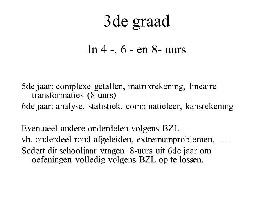 3de graad In 4 -, 6 - en 8- uurs 5de jaar: complexe getallen, matrixrekening, lineaire transformaties (8-uurs) 6de jaar: analyse, statistiek, combinatieleer, kansrekening Eventueel andere onderdelen volgens BZL vb.