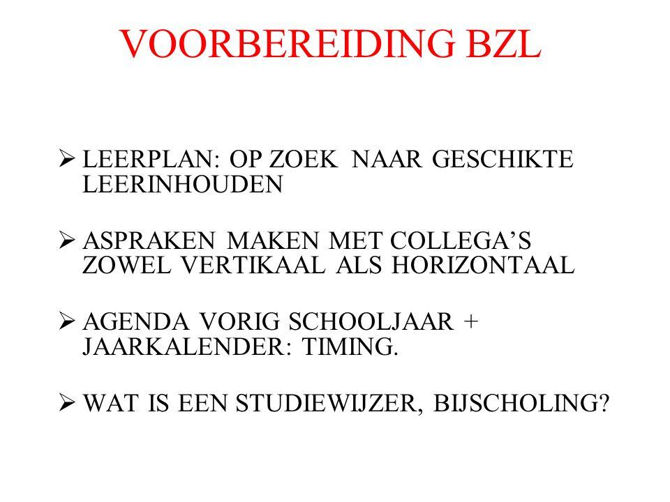 VOORBEREIDING BZL  LEERPLAN: OP ZOEK NAAR GESCHIKTE LEERINHOUDEN  ASPRAKEN MAKEN MET COLLEGA'S ZOWEL VERTIKAAL ALS HORIZONTAAL  AGENDA VORIG SCHOOLJAAR + JAARKALENDER: TIMING.