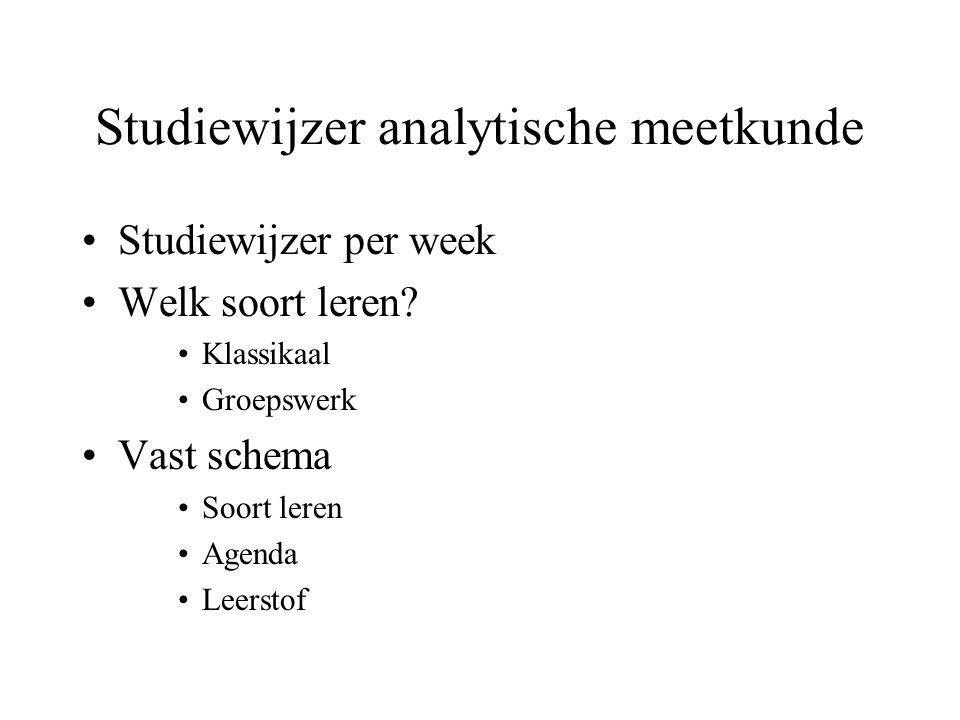 Studiewijzer analytische meetkunde Studiewijzer per week Welk soort leren? Klassikaal Groepswerk Vast schema Soort leren Agenda Leerstof