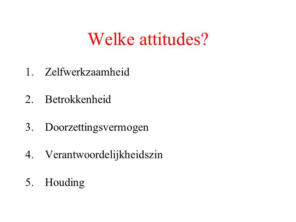 Welke attitudes? 1.Zelfwerkzaamheid 2.Betrokkenheid 3.Doorzettingsvermogen 4.Verantwoordelijkheidszin 5.Houding