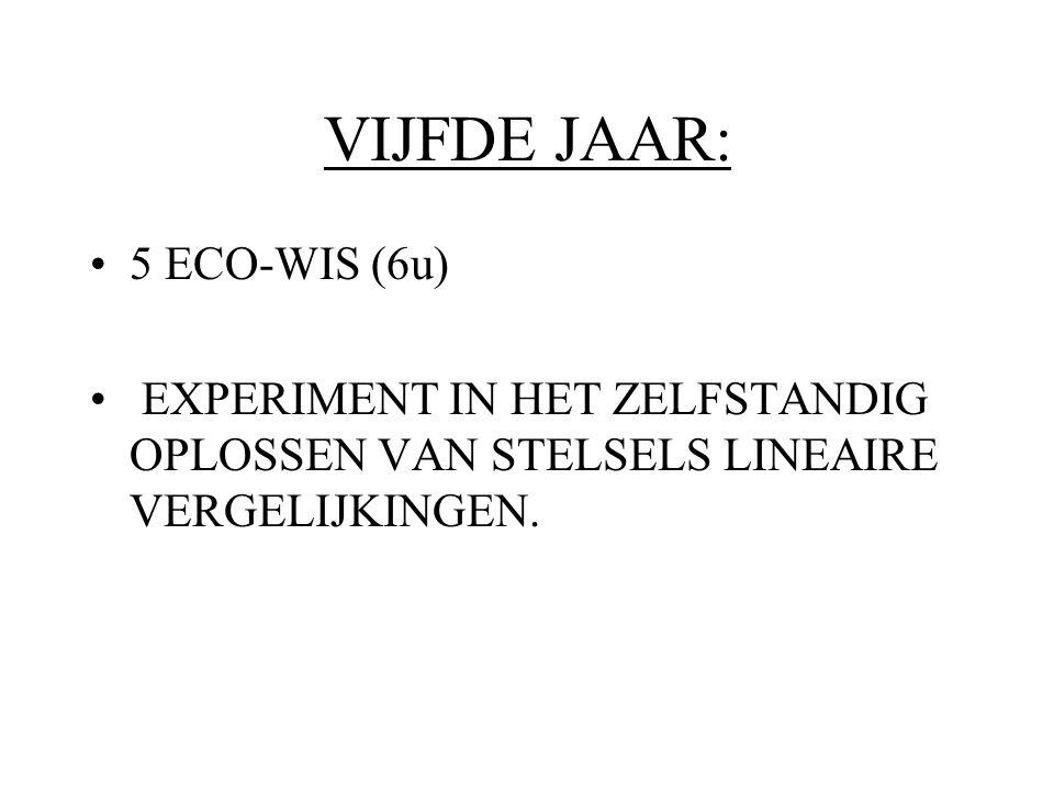 VIJFDE JAAR: 5 ECO-WIS (6u) EXPERIMENT IN HET ZELFSTANDIG OPLOSSEN VAN STELSELS LINEAIRE VERGELIJKINGEN.