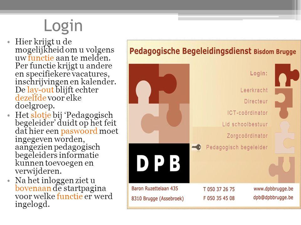 Startpagina In het centrale deel komen grote topics zoals: 'welkomstwoord', 'mededelingen', 'pastoraal' en 'vacatures' aan bod.
