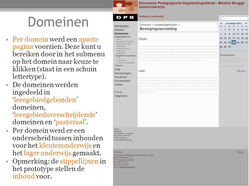 Domeinen Per domein werd een aparte pagina voorzien.