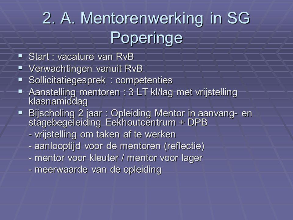 2. A. Mentorenwerking in SG Poperinge  Start : vacature van RvB  Verwachtingen vanuit RvB  Sollicitatiegesprek : competenties  Aanstelling mentore