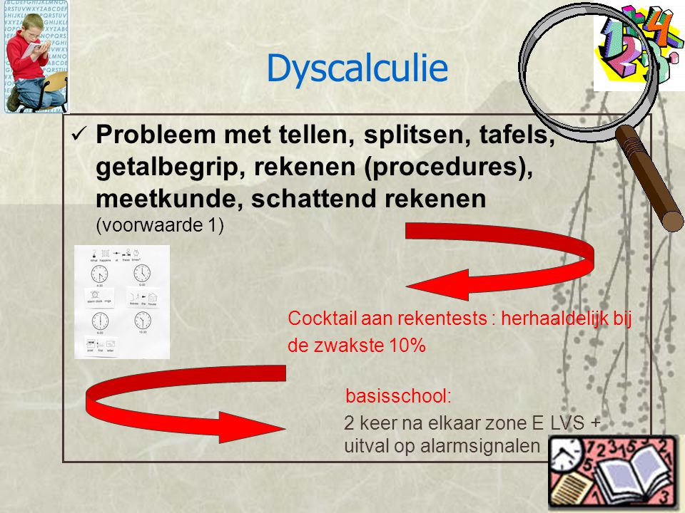 Probleem met tellen, splitsen, tafels, getalbegrip, rekenen (procedures), meetkunde, schattend rekenen (voorwaarde 1) Cocktail aan rekentests : herhaa