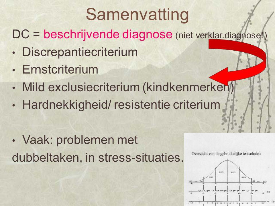 Samenvatting DC = beschrijvende diagnose (niet verklar.diagnose!) Discrepantiecriterium Ernstcriterium Mild exclusiecriterium (kindkenmerken) Hardnekk