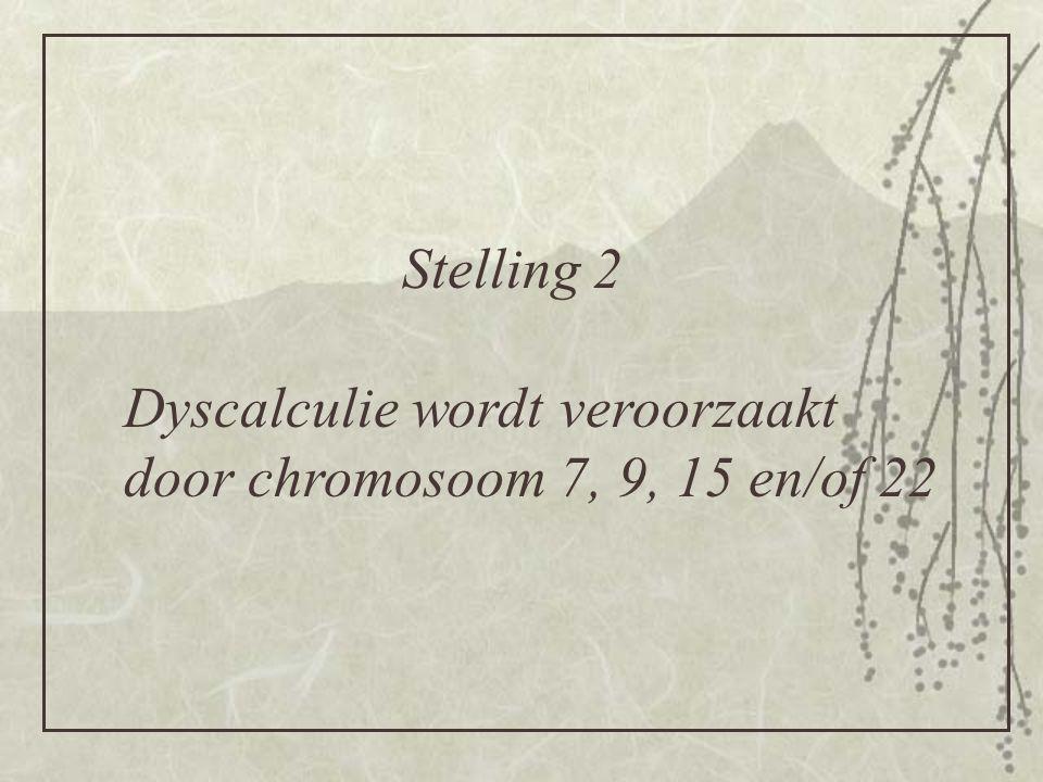 Stelling 2 Dyscalculie wordt veroorzaakt door chromosoom 7, 9, 15 en/of 22