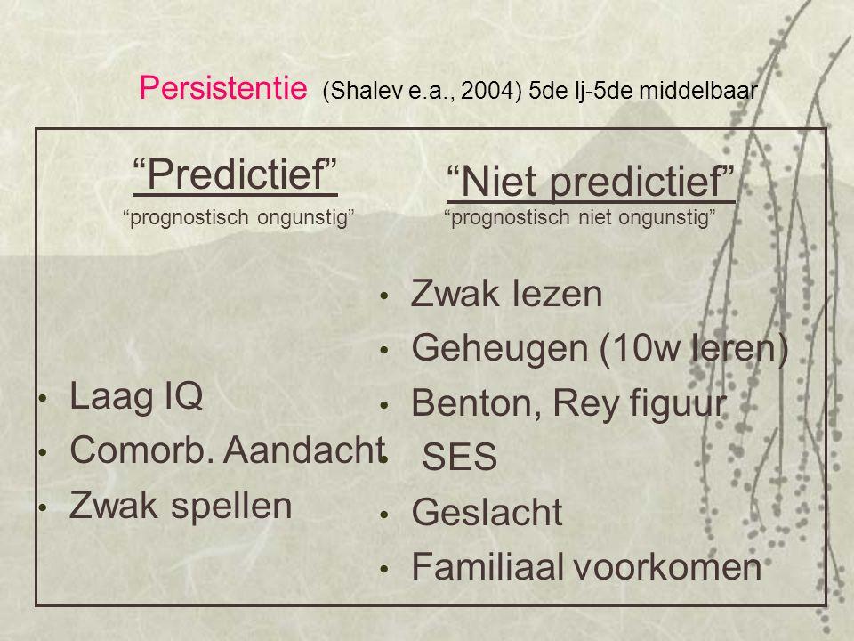 """Persistentie (Shalev e.a., 2004) 5de lj-5de middelbaar """"Predictief"""" Laag IQ Comorb. Aandacht Zwak spellen """"Niet predictief"""" Zwak lezen Geheugen (10w l"""