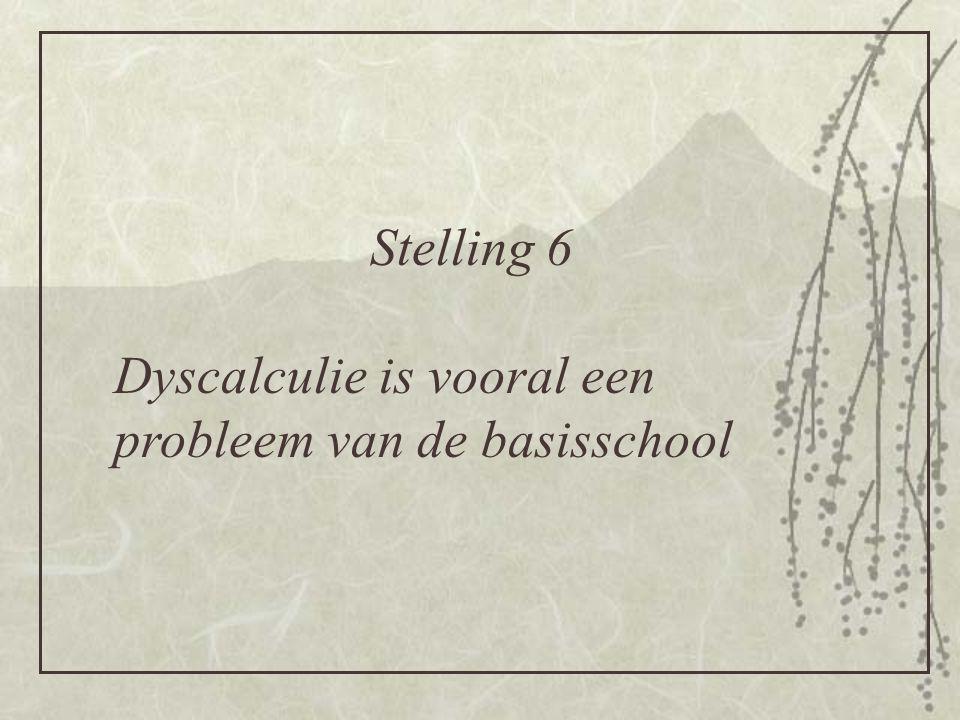 Stelling 6 Dyscalculie is vooral een probleem van de basisschool