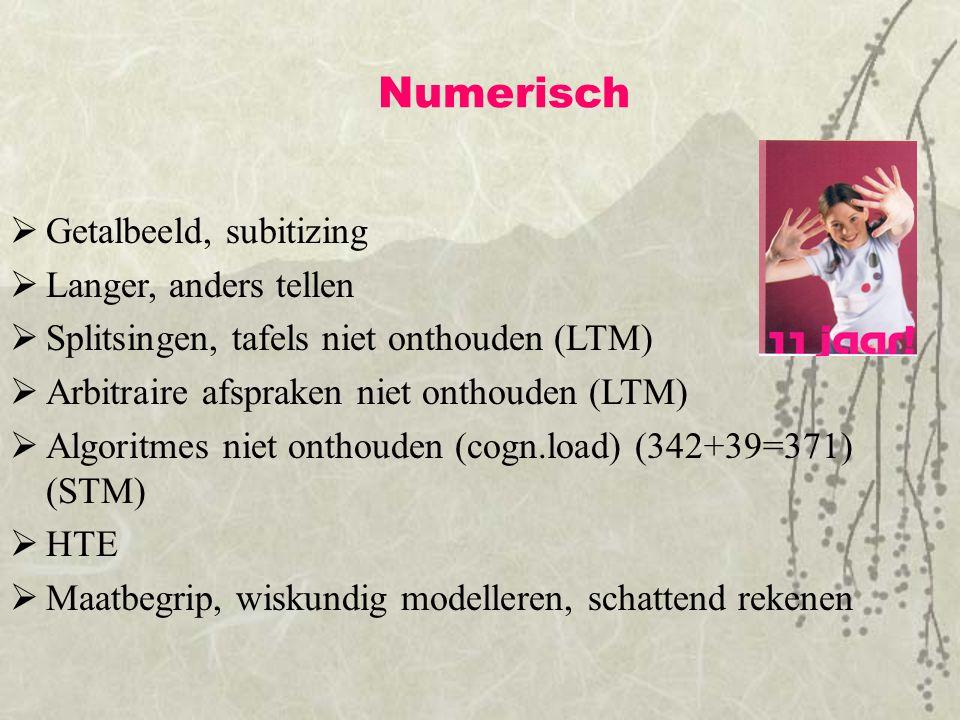 Numerisch  Getalbeeld, subitizing  Langer, anders tellen  Splitsingen, tafels niet onthouden (LTM)  Arbitraire afspraken niet onthouden (LTM)  Al