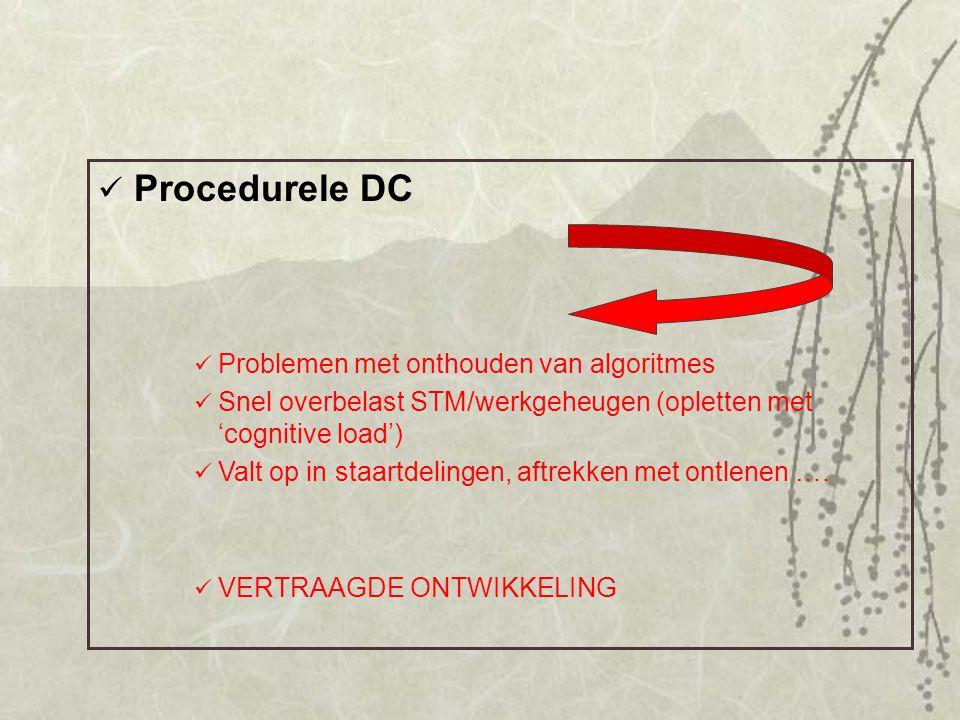 Procedurele DC Problemen met onthouden van algoritmes Snel overbelast STM/werkgeheugen (opletten met 'cognitive load') Valt op in staartdelingen, aftr