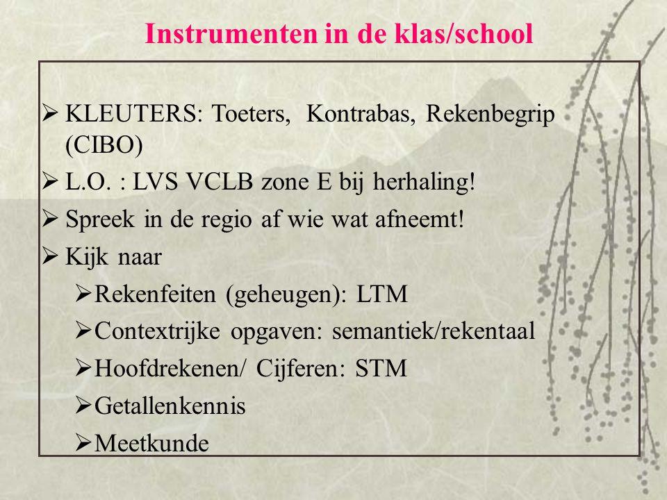 Instrumenten in de klas/school  KLEUTERS: Toeters, Kontrabas, Rekenbegrip (CIBO)  L.O. : LVS VCLB zone E bij herhaling!  Spreek in de regio af wie