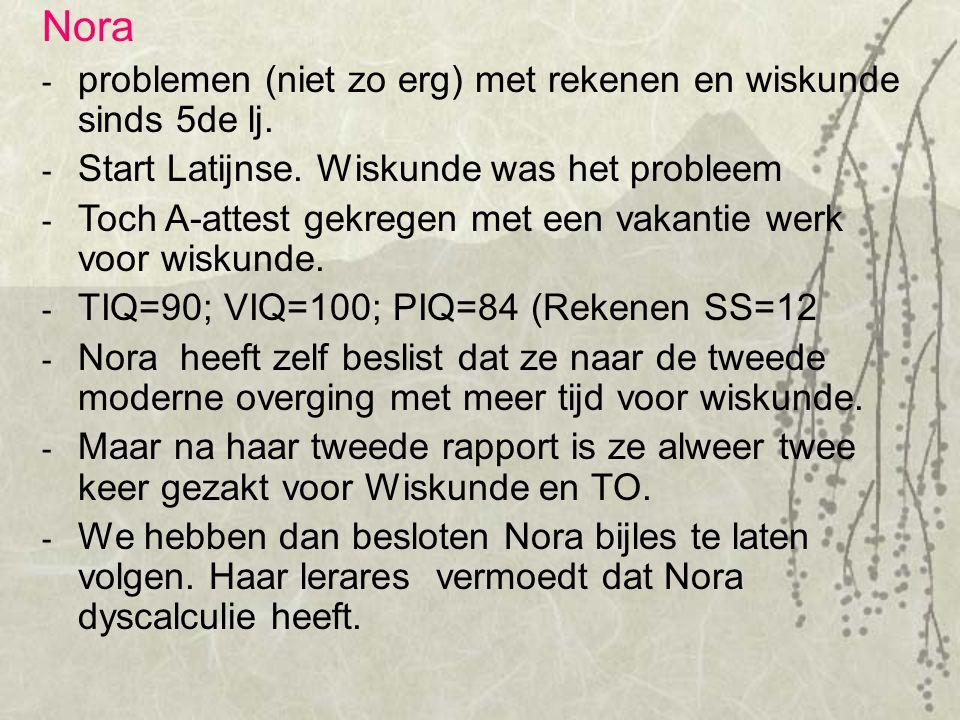 Ja Neen Dyscalculie alleen Ja + schuchter + hulp vragend + minder gemotvieerd Ja + verworpen volgens lk.