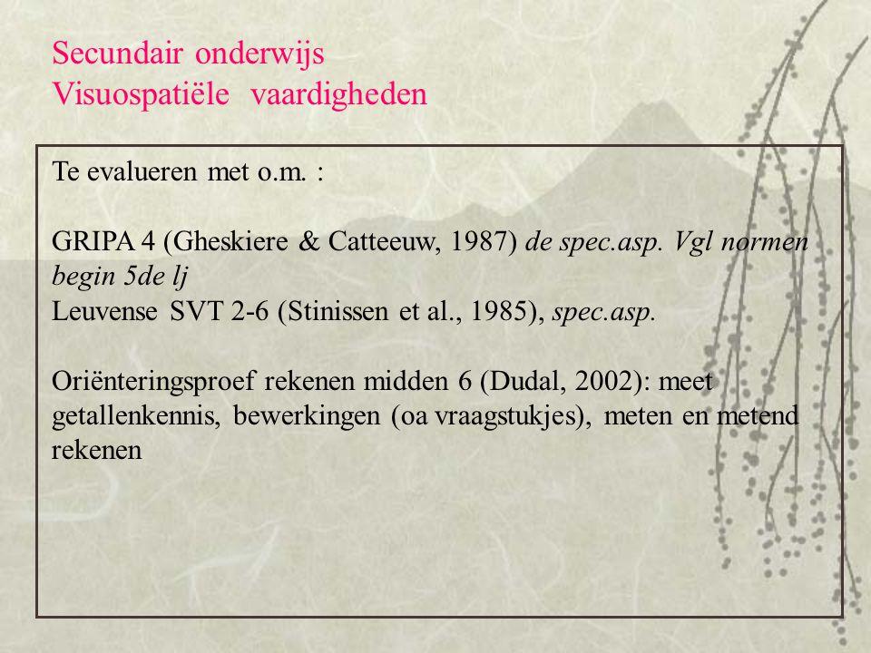 Secundair onderwijs Visuospatiële vaardigheden Te evalueren met o.m. : GRIPA 4 (Gheskiere & Catteeuw, 1987) de spec.asp. Vgl normen begin 5de lj Leuve