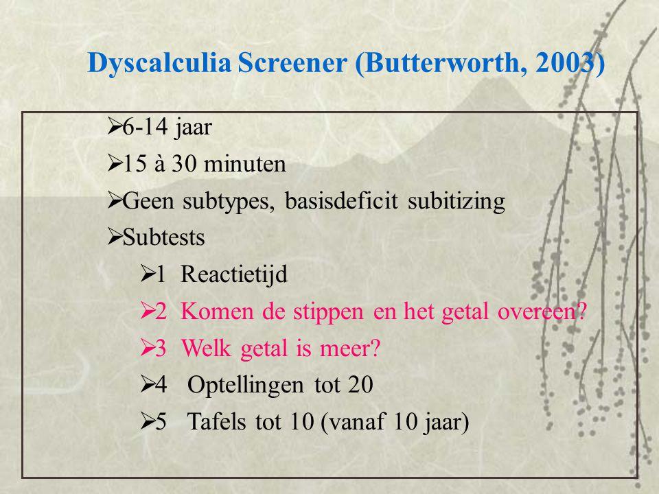 Dyscalculia Screener (Butterworth, 2003)  6-14 jaar  15 à 30 minuten  Geen subtypes, basisdeficit subitizing  Subtests  1 Reactietijd  2 Komen d