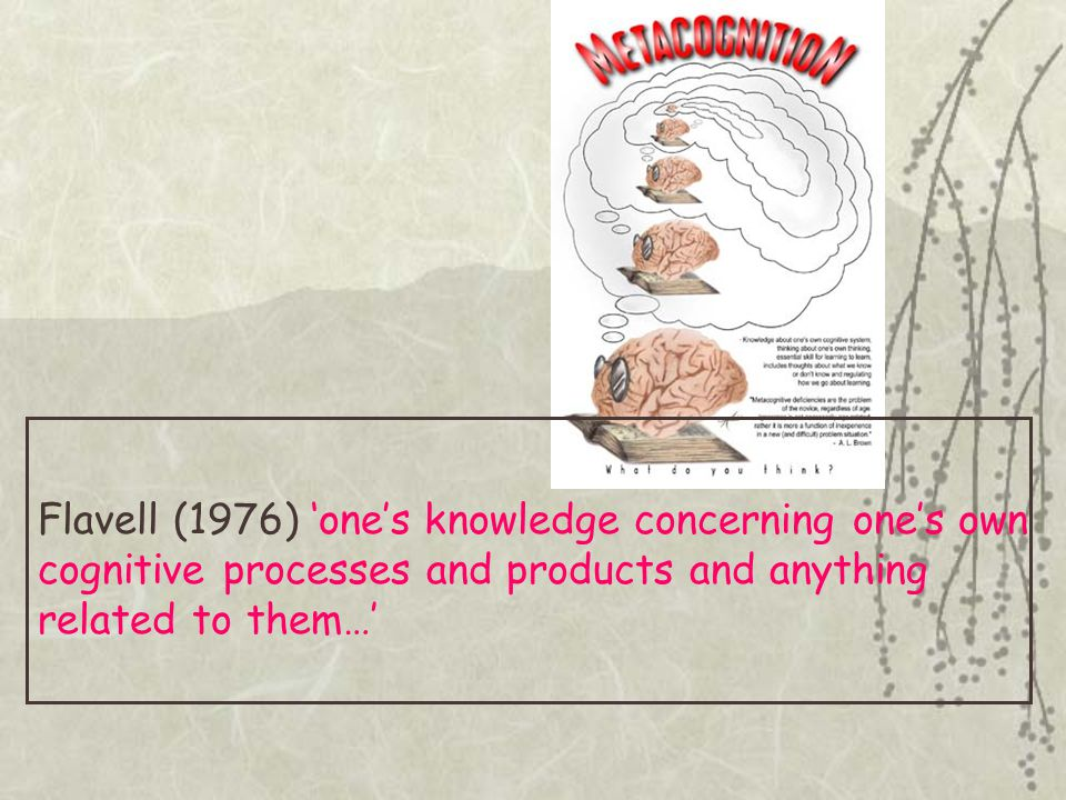 Flavell (1976) 'one's knowledge concerning one's own cognitive processes and products and anything related to them…'