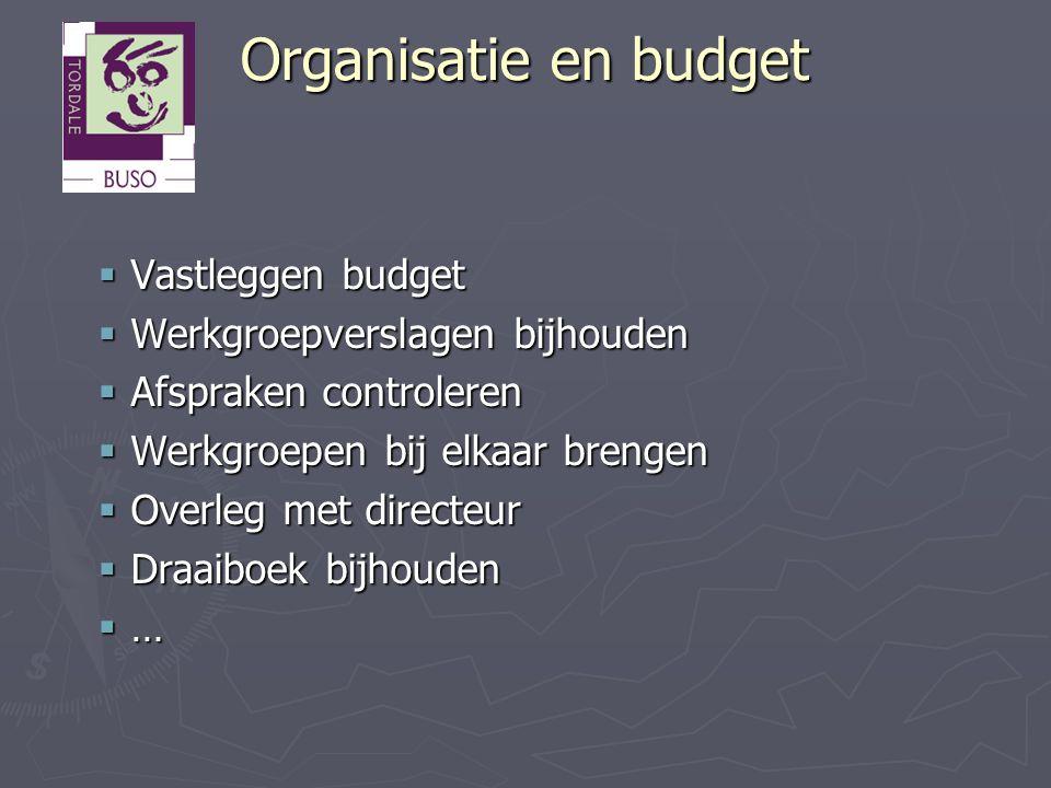 Organisatie en budget  Vastleggen budget  Werkgroepverslagen bijhouden  Afspraken controleren  Werkgroepen bij elkaar brengen  Overleg met direct