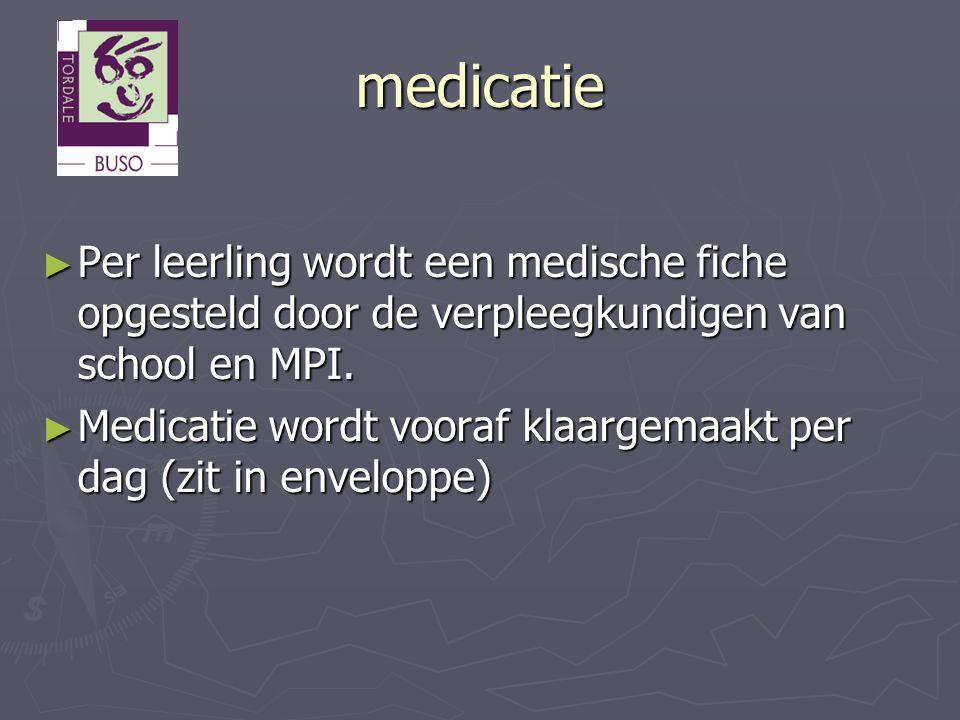 medicatie ► Per leerling wordt een medische fiche opgesteld door de verpleegkundigen van school en MPI. ► Medicatie wordt vooraf klaargemaakt per dag