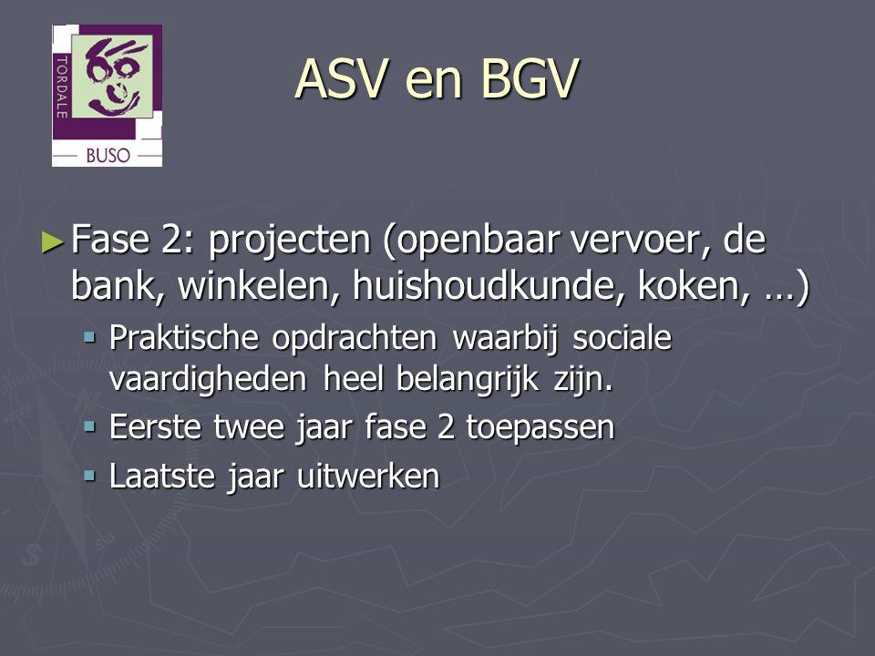 ASV en BGV ► Fase 2: projecten (openbaar vervoer, de bank, winkelen, huishoudkunde, koken, …)  Praktische opdrachten waarbij sociale vaardigheden hee