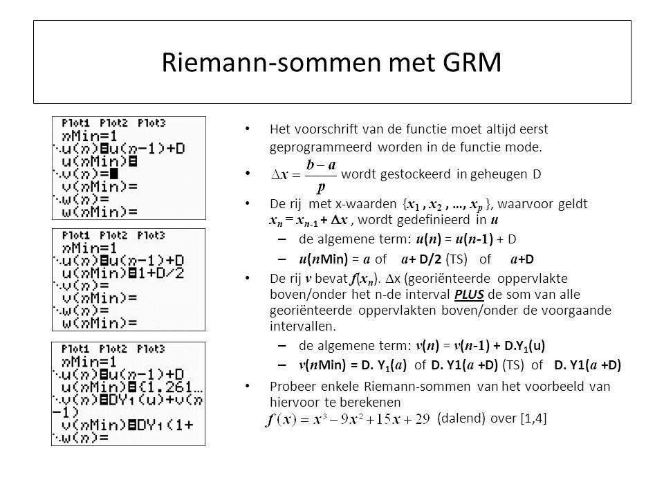Riemann-sommen met GRM Het voorschrift van de functie moet altijd eerst geprogrammeerd worden in de functie mode.