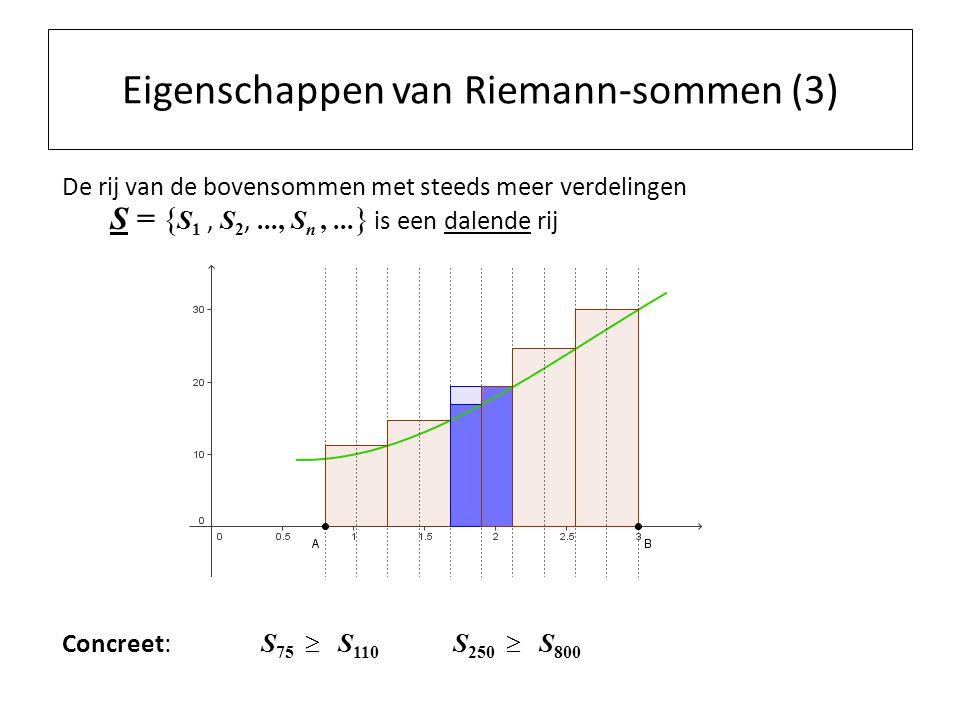 Eigenschappen van Riemann-sommen (3) De rij van de bovensommen met steeds meer verdelingen S = { S 1, S 2,..., S n,...
