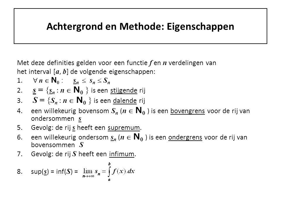Achtergrond en Methode: Eigenschappen Met deze definities gelden voor een functie f en n verdelingen van het interval [ a, b ] de volgende eigenschappen: 1.