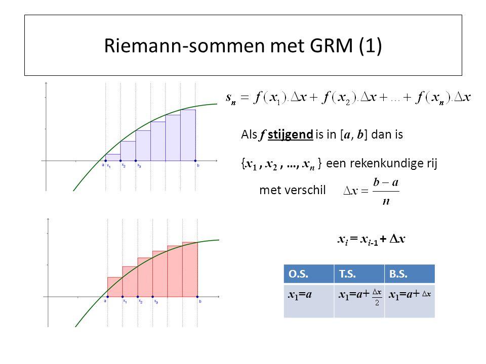 Riemann-sommen met GRM (1) Als f stijgend is in [ a, b ] dan is { x 1, x 2, …, x n } een rekenkundige rij met verschil x i = x i- 1 +  x O.S.T.S.B.S.