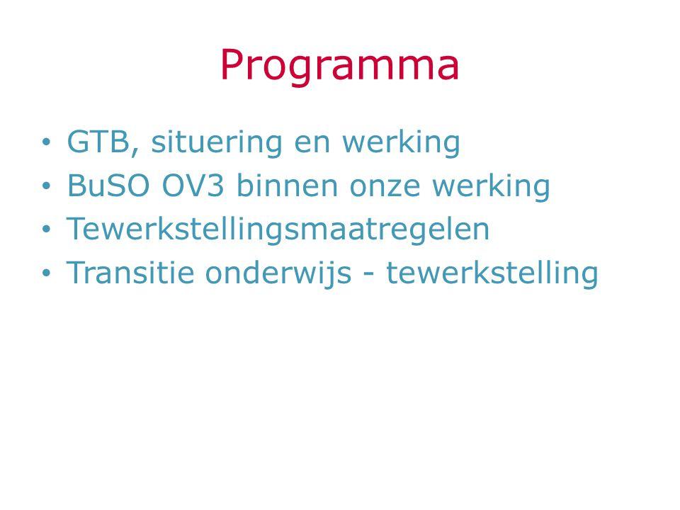 Programma GTB, situering en werking BuSO OV3 binnen onze werking Tewerkstellingsmaatregelen Transitie onderwijs - tewerkstelling