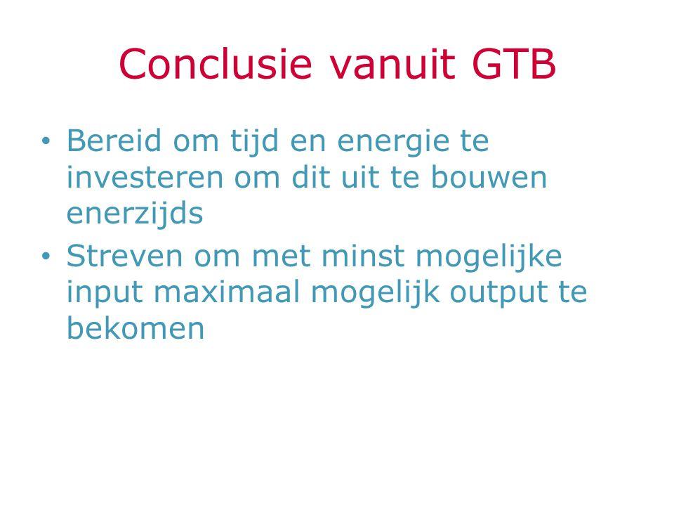 Conclusie vanuit GTB Bereid om tijd en energie te investeren om dit uit te bouwen enerzijds Streven om met minst mogelijke input maximaal mogelijk out