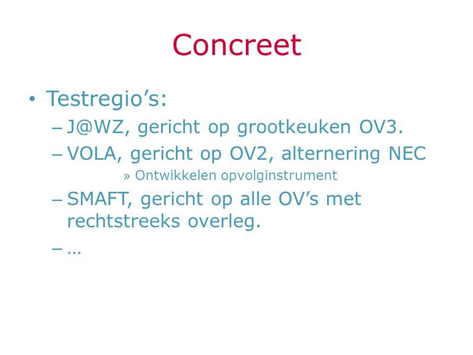 Concreet Testregio's: – J@WZ, gericht op grootkeuken OV3. – VOLA, gericht op OV2, alternering NEC » Ontwikkelen opvolginstrument – SMAFT, gericht op a