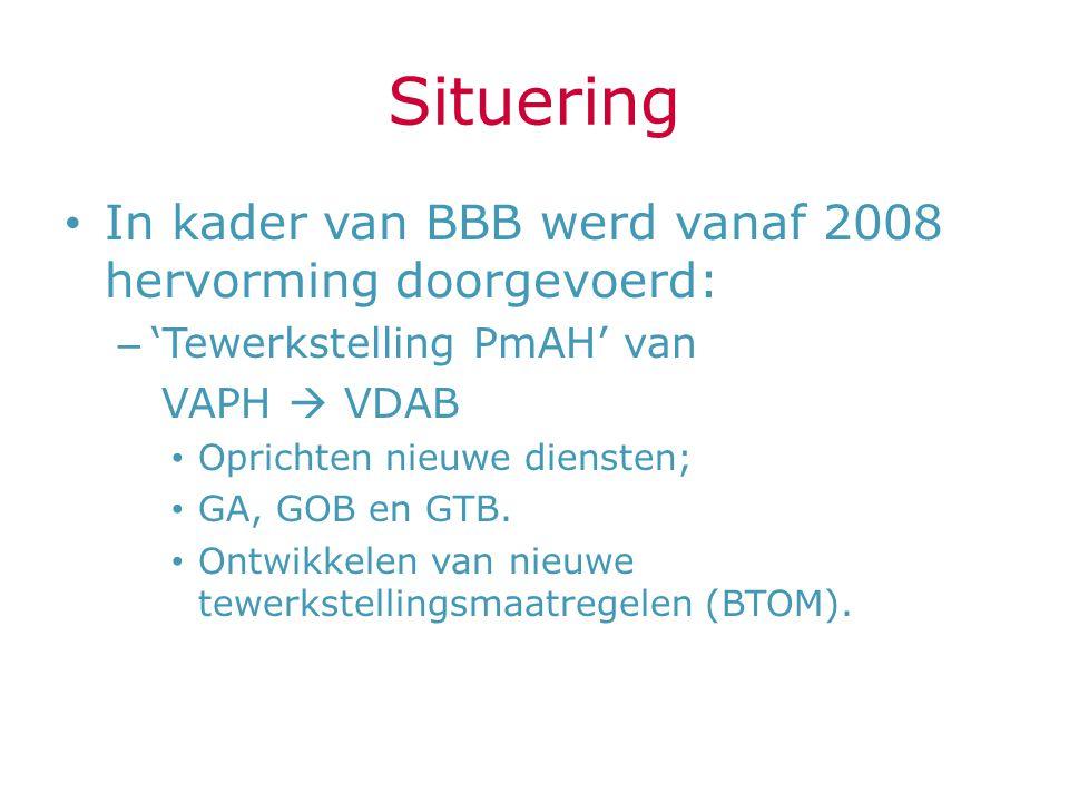 Situering In kader van BBB werd vanaf 2008 hervorming doorgevoerd: – 'Tewerkstelling PmAH' van VAPH  VDAB Oprichten nieuwe diensten; GA, GOB en GTB.