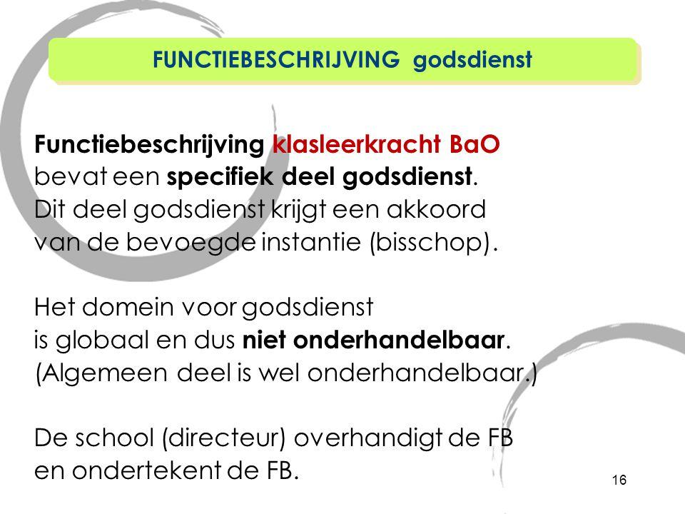 Functiebeschrijving klasleerkracht BaO bevat een specifiek deel godsdienst.