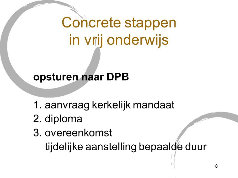 Concrete stappen in vrij onderwijs opsturen naar DPB 1.