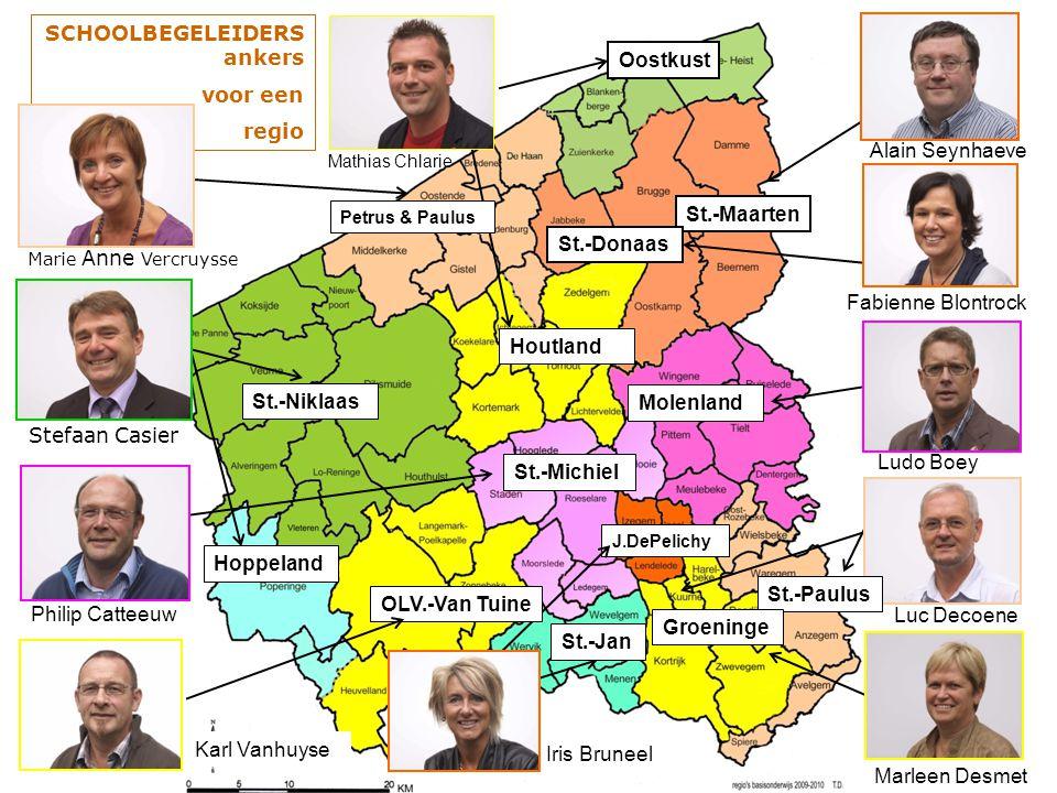 SCHOOLBEGELEIDERS ankers voor een regio Oostkust Houtland Mathias Chlarie Alain Seynhaeve St.-Maarten St.-Donaas Fabienne Blontrock Molenland Ludo Boe