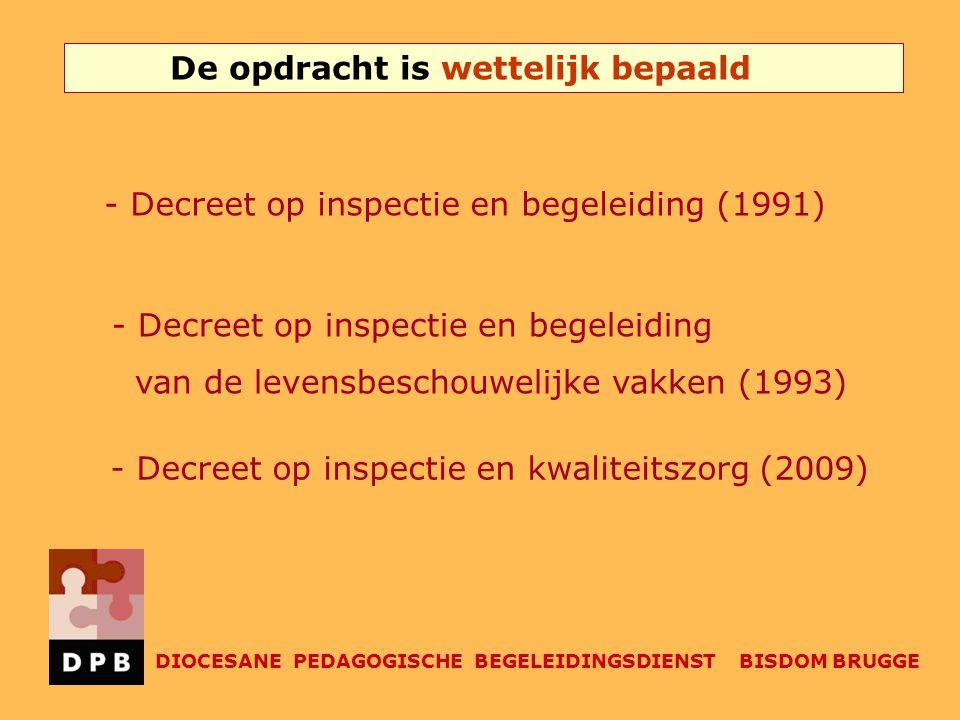 De opdracht is wettelijk bepaald DIOCESANE PEDAGOGISCHE BEGELEIDINGSDIENST BISDOM BRUGGE - Decreet op inspectie en begeleiding (1991) - Decreet op ins