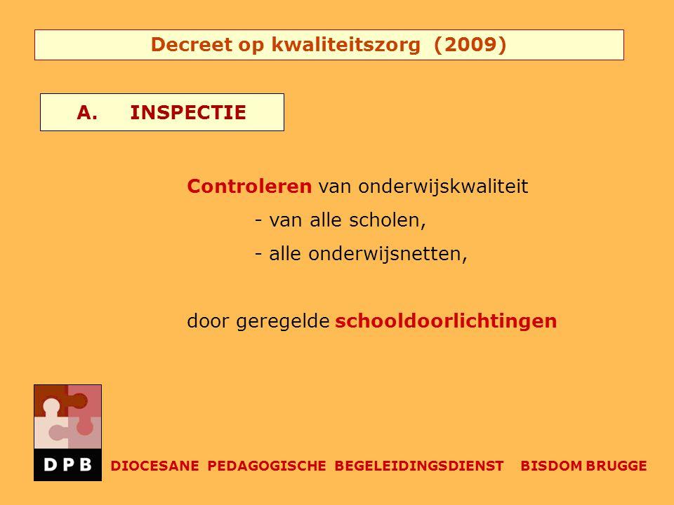 Decreet op kwaliteitszorg (2009) Controleren van onderwijskwaliteit - van alle scholen, - alle onderwijsnetten, door geregelde schooldoorlichtingen A.