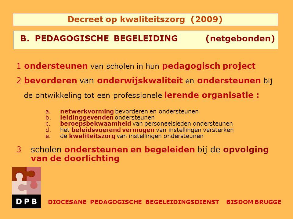 Decreet op kwaliteitszorg (2009) 1 ondersteunen van scholen in hun pedagogisch project 2 bevorderen van onderwijskwaliteit en ondersteunen bij de ontw