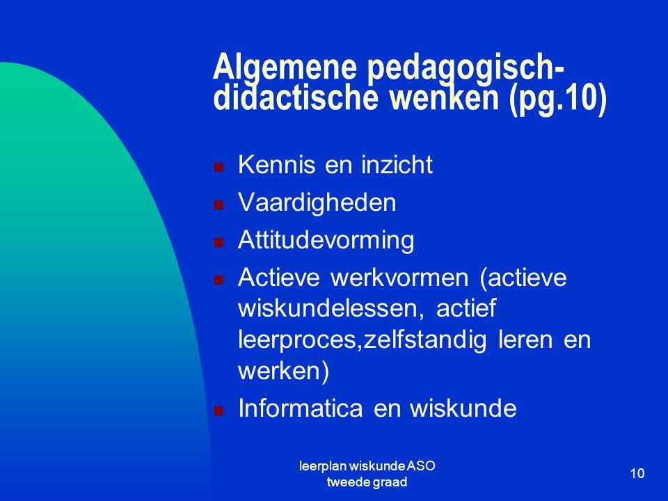 leerplan wiskunde ASO tweede graad 10 Algemene pedagogisch- didactische wenken (pg.10) Kennis en inzicht Vaardigheden Attitudevorming Actieve werkvorm