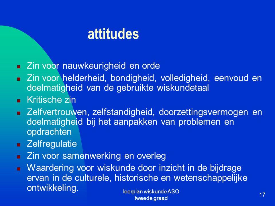 leerplan wiskunde ASO tweede graad 17 attitudes Zin voor nauwkeurigheid en orde Zin voor helderheid, bondigheid, volledigheid, eenvoud en doelmatighei