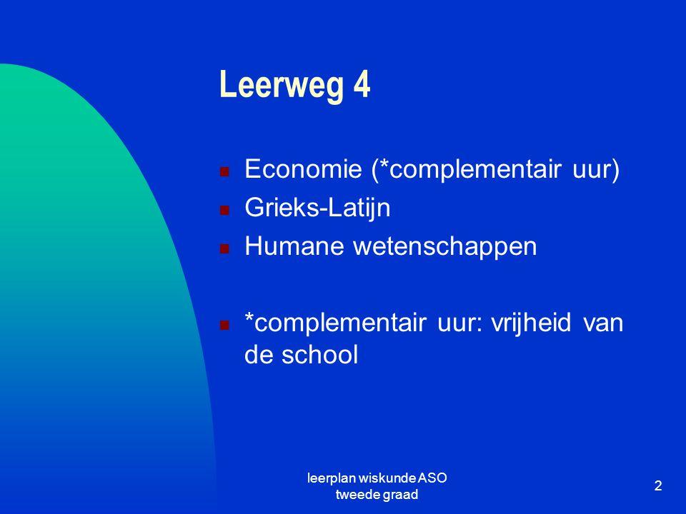 leerplan wiskunde ASO tweede graad 2 Leerweg 4 Economie (*complementair uur) Grieks-Latijn Humane wetenschappen *complementair uur: vrijheid van de sc