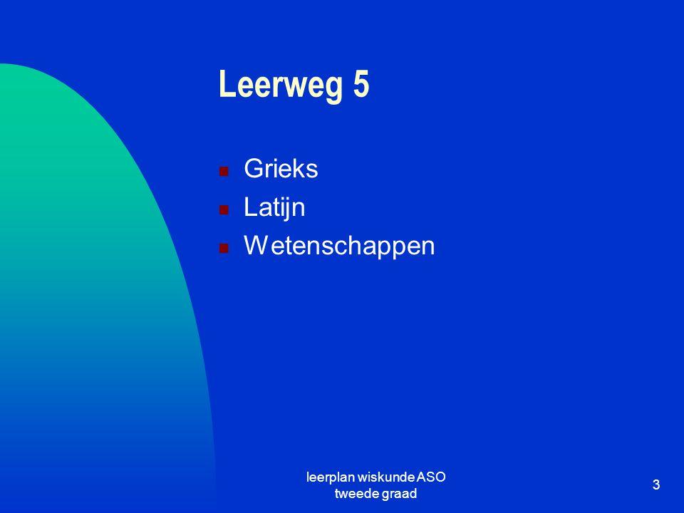 leerplan wiskunde ASO tweede graad 3 Leerweg 5 Grieks Latijn Wetenschappen