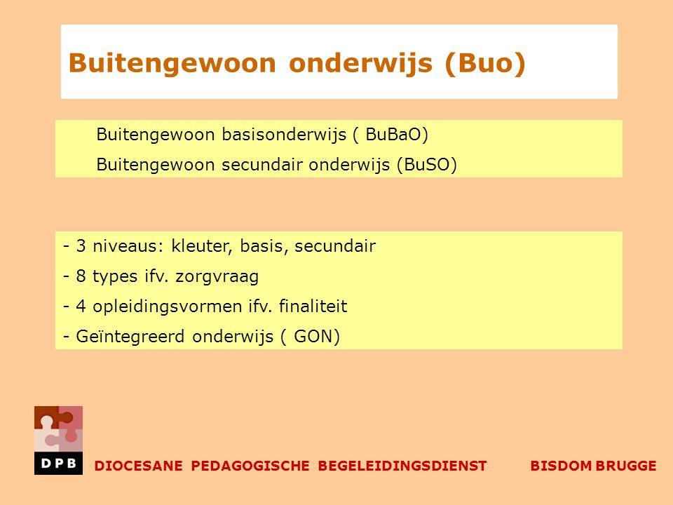 Buitengewoon onderwijs (Buo) Buitengewoon basisonderwijs ( BuBaO) Buitengewoon secundair onderwijs (BuSO) - 3 niveaus: kleuter, basis, secundair - 8 types ifv.