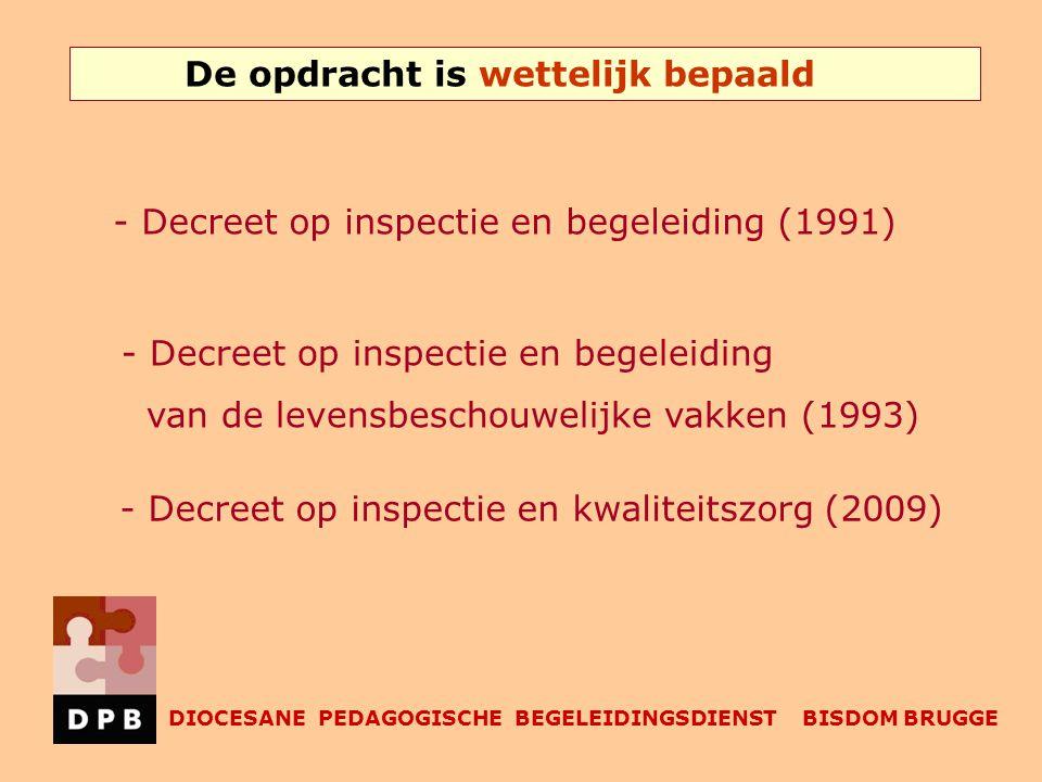 De opdracht is wettelijk bepaald DIOCESANE PEDAGOGISCHE BEGELEIDINGSDIENST BISDOM BRUGGE - Decreet op inspectie en begeleiding (1991) - Decreet op inspectie en begeleiding van de levensbeschouwelijke vakken (1993) - Decreet op inspectie en kwaliteitszorg (2009)