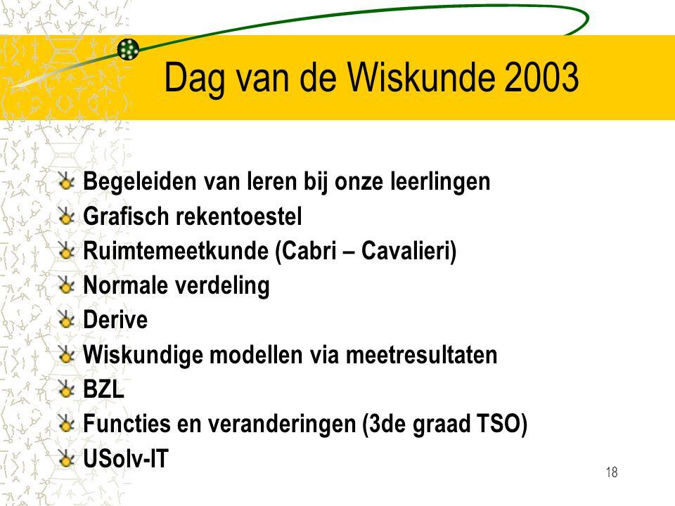 18 Dag van de Wiskunde 2003 Begeleiden van leren bij onze leerlingen Grafisch rekentoestel Ruimtemeetkunde (Cabri – Cavalieri) Normale verdeling Derive Wiskundige modellen via meetresultaten BZL Functies en veranderingen (3de graad TSO) USolv-IT